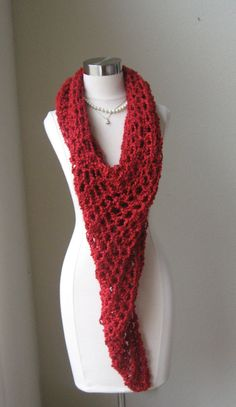 RED LACE PONCHO Crochet Knit Boho Chic Feminine by marianavail, $35.00