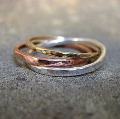 Intertwined Rolling Rings - Sterling Silver Copper and 14K Yellow Gold Filled - Tri Color Band - Wedding Bands - Best Friends