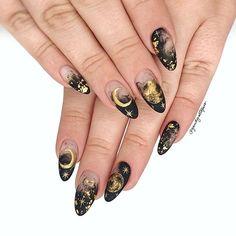 Nail Design Stiletto, Nail Design Glitter, Stiletto Nails, Cute Acrylic Nails, Cute Nails, Pretty Nails, Witchy Nails, Gothic Nails, Nail Envy