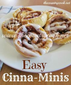 The Country Cook: Easy Cinna-Minis...This would make a Good Weight Watcher Breakfast...with egg beater...fruit...good cup of coffee...