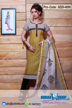 Add Grace And Charm On Your Look In This Engaging Yellow Chanderi Cotton Silk Salwar Kameez. The Ethnic Block Print Work On The Apparel Adds A Sign Of Elegance Statement With Your Look. Paired With A Contrast Black Cotton Chudidar Comes With A Contrast Off White Cotton Dupatta  Visit: http://surateshop.com/product-details.php?cid=2_27_46&pid=6986&mid=0