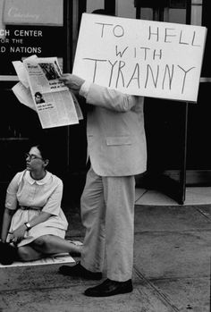 To hell with tyranny . Demonstration against Soviet invasion of Czechoslovakia at the UN plaza, 1968.
