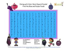 Fun 8 word search puzzle the promotes the healthy fruits and vegetables that color your plate with blue and purple.