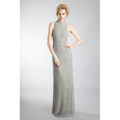 Nicole Coste - Cassandra American Armhole Long Dress Silver (€2.380) ❤ liked on Polyvore featuring dresses, gowns, sequin gown, sequin dress, silver evening gowns, white sequin gown and white dress