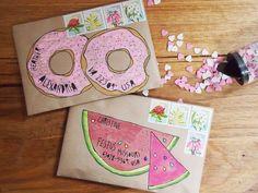 Mail Art by Naomi Loves: Donuts + watermelon (Diy Paper Envelopes) Envelope Lettering, Envelope Art, Envelope Design, Mail Design, Pocket Letter, Diy Paper, Paper Crafts, Mail Art Envelopes, Snail Mail Pen Pals