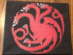 "House Targaryen sigil - ""Fire and Blood"" Acrylic paint on 8x10 stretched canvas.  Game of Thrones"