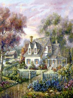 Images of Vermont (Carl Valente) Colorful Paintings, Beautiful Paintings, Beautiful Landscapes, Thomas Kinkade, Belle Image Nature, Foto Fantasy, Cottage Art, Cross Paintings, Oil Paintings