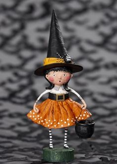 Bring sweet dash of hocus pocus to any desk, shelf or table with this sweet Spellbound Witch figurine designed by artist Lori Mitchell. Hand-painted resin A Lori Mitchell design Photo courtesy of ESC and company Imported Country Halloween, Halloween Ii, Holidays Halloween, Vintage Halloween, Halloween Crafts, Happy Halloween, Halloween Decorations, Halloween Tricks, Vintage Witch