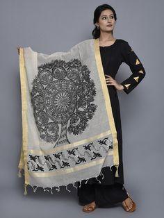 Off White Black Jute Cotton Hand Painted Madhubani Dupatta