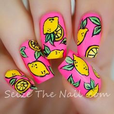 fruit nail art, orange nails - Uñas de frutas