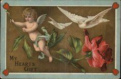 Valentine - Cupid on Rose - Doves c1910 Embossed Postcard