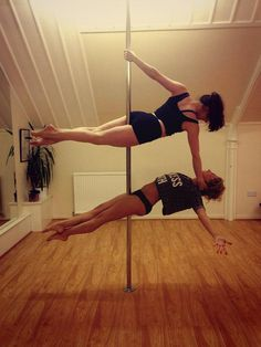 Trust in your best friends to pole dance with you! Pole dancing, pole fitness, best friends, doubles, pair, trust, brave, strong Pole Position Scotland