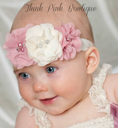 Baby Headband Pink Baby HeadbandBaby by ThinkPinkBows on Etsy
