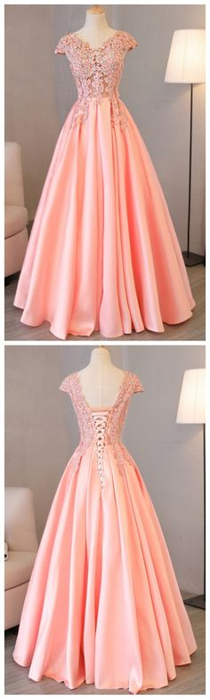 Charming Prom Dress, Cap Sleeve Pink Appliques Long Evening Party Dress P1009 #promdresses #longpromdress #2018promdresses #fashionpromdresses #charmingpromdresses #2018newstyles #fashions #styles #hiprom #blushpinkprom #laceprom #ballgown