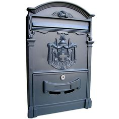This mailbox from Fine Arts Lighting® will add a touch of elegance to the front of your house. Made from durable aluminum, this mailbox will keep your mail neatly stored.Dimensions: x x Keys Fine Art Lighting Ltd. Security Mailbox, Wall Mount Mailbox, Mounted Mailbox, Wedding Post Box, Card Box Wedding, Wedding Ideas, Black Mailbox, Large Mailbox, Furniture