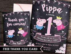 Peppa Pig invitation Peppa Pig Invite Peppa Pig by Vintagefoil