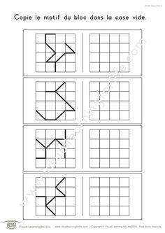 Dans les fiches de travail « Motifs bloc (4x4) » l'élève doit copier le design de la ligne dans la case vide.