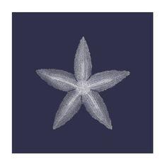 White on Navy Sea Elements I