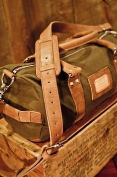 Elkton Duffle Bag for Men. Waxed Canvas and Leather Trim. For the Rugged Gentleman.