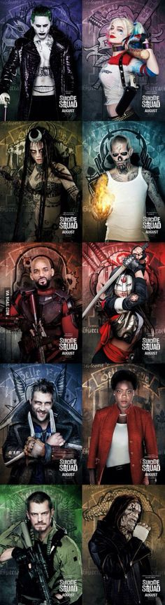 The Joker, Harley Quinn, Enchantress, El Diablo, Deadshot, Katana, Captain Boomerang, Amanda Waller, Rick Flag, Killer Croc