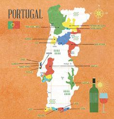 Map of Portuguese wine regions - Crashkurs Wine Book : nomono