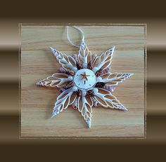 1 Handmade Cut White Chula Shell 8 Pt Ornament For All Year Decorate Trees/Wreaths/Gifts/Garland, Beach/Nautical/Coastal Decor Seashell Jewelry, Seashell Art, Seashell Crafts, Starfish, Seashell Ornaments, Snowflake Ornaments, Thing 1, Cover Up Tattoos, Water Crafts