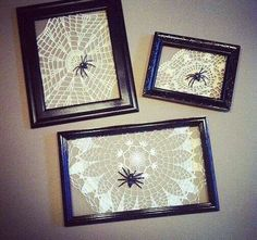 Spider web doilies in frames