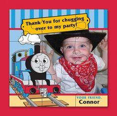10 Custom Photo Jigsaw Puzzles Thomas the Train Birthday Party Favor or Thank you.  #thomas #train #birthday #puzzle #favor  www.zazazoocards.com