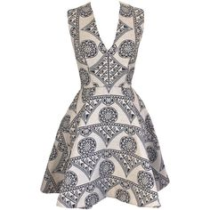Joana Almagro - Murano Dress ($730) ❤ liked on Polyvore featuring dresses, vestidos, short dresses, mixed print dress, white bustier, bustier dress and jacquard dress
