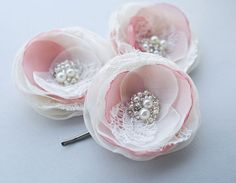 Bridal Hair Accessories Ivory and Dusty Rose Hair by BelleBlooms, $32.00