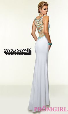 Long Mori Lee Prom Dress with Beaded Back at PromGirl.com