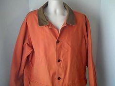 LL Bean Mens Vintage XL Lined  Coat Orange Canvas Corduroy #LLBean #BasicJacket