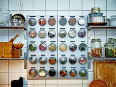 This magnetic spice display is functional and beautiful — ideal for cooks who like to keep their wares close at hand. Typed labels add to the modern, deconstructed appeal of this spice storage solution from IKEA. Recreate the look with Grundtal canisters and the Spontan magnetic board.