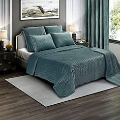 Brielle Premium Heavy Velvet Quilt Set with Cotton Backing, King, Seafoam * More info could be found at the image url. (This is an affiliate link) White Crib Bedding, Crib Bedding Sets, Cotton Bedding, Comforters, Teal Bedspread, Urban Outfitters, Baby Doll Bed, Victorian Sofa, Shabby