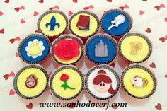 """Cupcakes """"A Bela e a Fera""""!  curta nossa página no Facebook: www.facebook.com/sonhodocerj"""