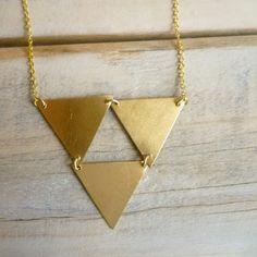Triangle Geometric Necklace  Vintage Brass by SilkPurseSowsEar