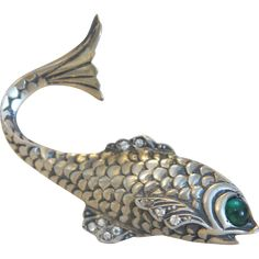 Antique silver fish brooch, ca. 1900 Very Simpsons -- one eyed fish instead of 3 eyed fish.
