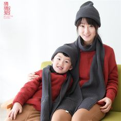 2015 Winter brand solid cotton grey shawl hats women girls mother and daughter…