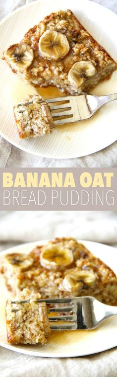 Banana Oat Bread Pudding - refined sugar free, easily made gluten-free, and packed with fiber and protein, this healthy bread pudding is an easy and delicious make-ahead breakfast option that's perfec (Vegan Oatmeal Chia Seeds) Breakfast Options, Make Ahead Breakfast, Breakfast Recipes, Dessert Recipes, Breakfast Healthy, Eat Breakfast, Banana Oat Bread, Banana Oats, Breakfast Casserole With Bread