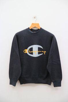 b6ce11f74fca Vintage CHAMPION Cup Big Logo Big Spell Sportswear Black Pullover Sweater  Sweatshirt Size M
