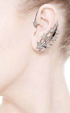 Black Rhodium Stars Ear Cuff by Runa for Preorder on Moda Operandi
