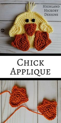 The Chick Applique is an adorable free crochet pattern that's perfect for baskets, bags, clothing, blankets, scarves, etc. This is a large applique is about the size of a hand. #crochet #freecrochetpattern #Eastercrochet #applique
