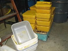 Rendering Beeswax For Candlemaking might be a good idea to put the wax in muffin tins for easier re-melting