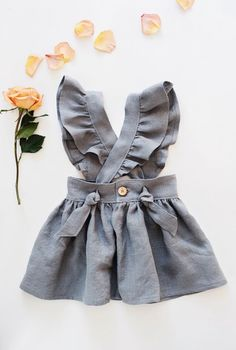 Handmade Linen Pinafore Dress | Gypsyandfree on Etsy #babygirloutfits