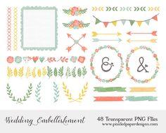 Wedding Clip Art FLOWER WREATH ARROW by PixeledPaperDesigns, $3.85 LOVE THE WHOLE STORE