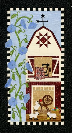 Cute BARN QUILT. I think sunflowers would be a bright and cheerful exchange for the morning glories.