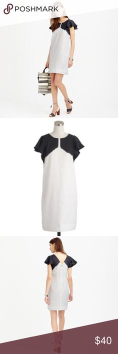 """J. Crew Linen Dip-Dyed Dress Black and white linen dip-dyed dress. EUC! Only worn a few times. No stains or snags. Measures 34"""" from shoulder to hem, standard size Medium. J. Crew Dresses Mini"""