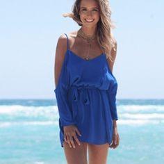 Sabo skirt blue open shoulder tie flowy dress Perfect condition Sabo Skirt Dresses