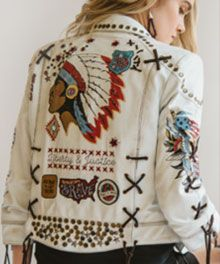 ~ From Double D Ranchwear: Hot off the press with their Freedom Rider Biker Jacket.   Product Detail/Content: 100% Goat Suede, Color: Distressed White.  Priced at $1,318.00.  Love the Indian Chief headdress and stitching on the back. ~