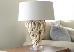 Ethan Allen Chandler Table Lamp. A work of art for your table, buffet or console, it's made of fallen Liana driftwood—formed and weathered by nature—that was selected specifically for its interesting contours.